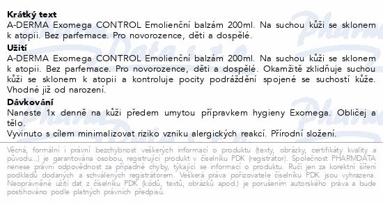 A-DERMA Exomega CONTROL Emolienční balzám 200ml