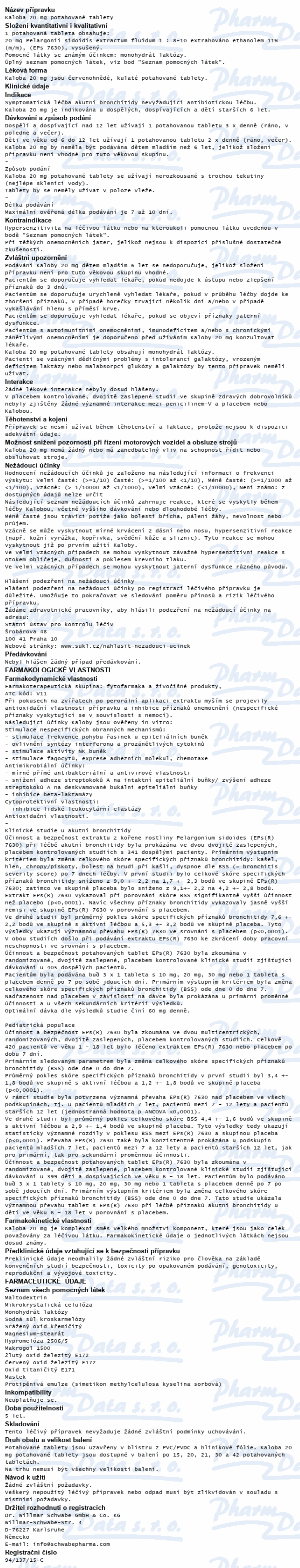 Kaloba 20mg por.tbl.flm. 21x20mg